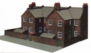 Four Red brick Terrace Backs