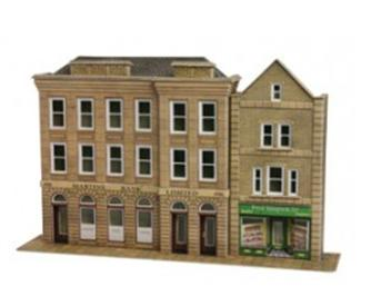 Low relief bank and shops